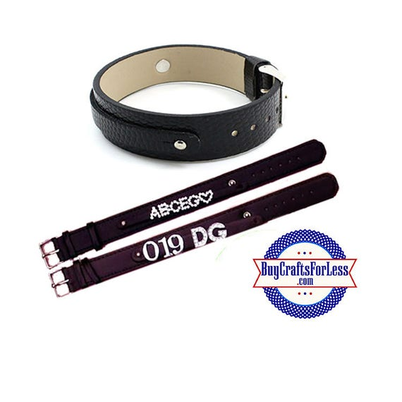 DOUBLE Split Leather BRACELET for 8mm Slider Letters and Charms, Black +FREE Shipping & Discounts*