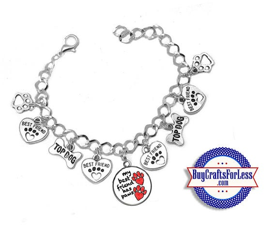 "DOG Best FRIEND Charm BRaCELET, Silver Plated, 7""-8"" +FREE SHiPPiNG & Discounts*"