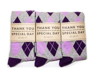 Groomsmen Purple Argyle Socks 3-Pack with Custom Labels/Wedding Day Socks/Groomsmen Gifts/Groomsmen Proposal Idea