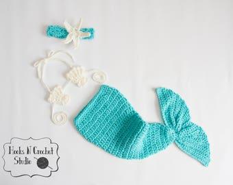 Newborn mermaid tail, newborn mermaid outfit, newborn crochet mermaid, newborn crochet outfit, crochet mermaid tail, baby mermaid tail