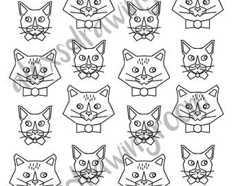 Printable Coloring Page Sheet Adult Book Cat