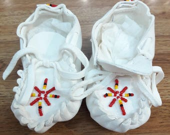 Navajo handmade beaded  baby moccasins