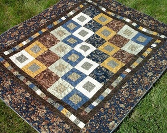 Country Quilt Cottage Lap Blanket Reproduction Floral Fabric Farmhouse Decor Masculine Father's Day Gift Handmade Ready to Ship Throw