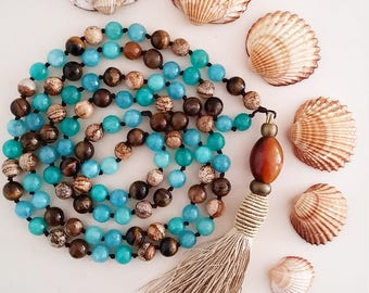 Mala necklace, necklace with tassel, bad 108, knotted a hand, meditation, yoga style, yoga jewelry, beads of agate, Tiger eye, necklaces