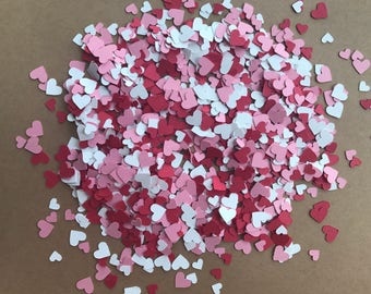 Mini Red, Pink, and White Heart Confetti - Valentine's Day Decorations - Valentine's Day Confetti - Valentine's Baby Shower Decor - Red and