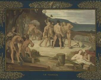 Pierre Puvis de Chavannes : Work (1863) Canvas Gallery Wrapped Wall Art Print
