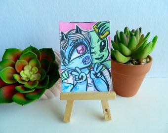 Original Cute Monster Girl Selfie Artist Trading Card (ATC)