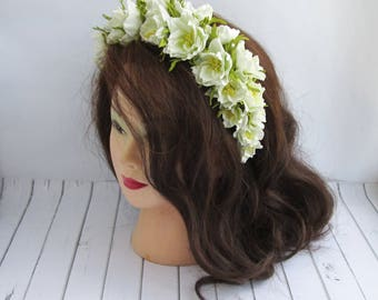 White Flowers Crown Wedding - Handmade Floral Crown - White Flowers Headband - Headpiece Bridal Flower Crown Wedding Flower Hair Accessories