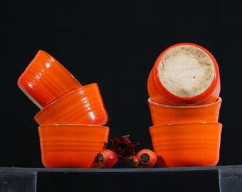 "Set of 6 Le Creuset orange stoneware dishes 4""x2"" condiment ramekins, 1970s, great for a fondue party, an aperitif, as retro kitchen decor"