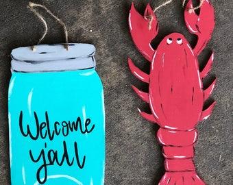 Mason Jar and Crawfish Wooden Door Hangers