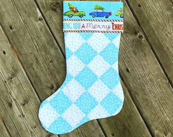Quilted Stocking Handmade - Best Tree on the Block with White and Turquoise Checkerboard Quilt