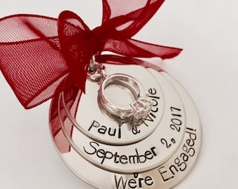 Personalied engagement ornament Christmas ornament for engaged couple engagement date wedding gift personalized ornament first christmas