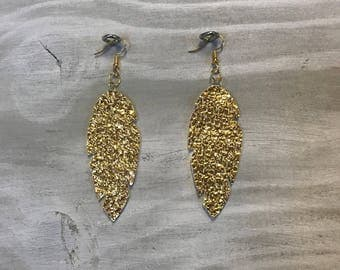 Gold Nugget faux vegan leather Feather design Earrings