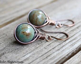Dragon's Blood Jasper / Copper Earrings / Wire Wrapped Earrings / Wire Wrapped Jewelry / Copper Jewelry / Copper Wire Earrings