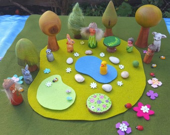 Wooden toy Forest Playset. Woodland playscape with wooden trees, animals, flowers, wood elves, pond... Small World Seasonal play.