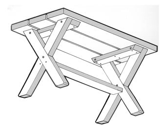 End Bench  ( 2' For Picnic Table) #166 Woodworking Pattern. FREE SHIPPING REFUND!