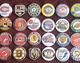 National Hockey League NHL Button Badges x 31. Pins Wholesale Collector Bargain. :0)