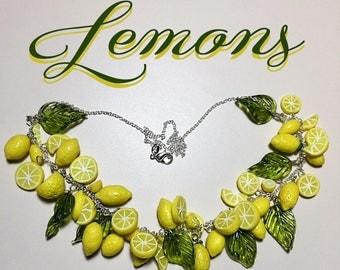 Retro 1950s Inspired Pinup Lemon Fruit Necklace