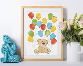 Framed - Baby Shower Bear with Balloons Print - Baby Shower Gift, New mum, new baby gift, Nursery decoration, Newborn, gifts for her