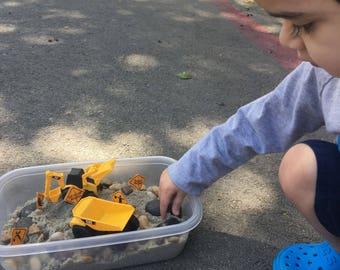 Construction Sensory Bin! Sand sensory bin, truck sensory bin, sensory bin