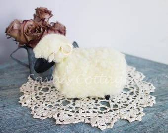 Vintage Handmade Wooden Sheep Toy English Sheep Doll Handcrafted Solid Wood Body Iron Horns Furry Fuzzy Wooly Sheep Lamb  From England