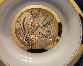 "Chokin Art Collectible Plate 6 1/2"" Flowers and Hummingbird"