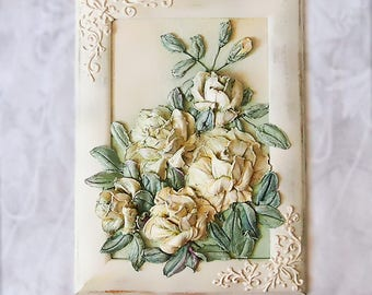 Painting Bouquet , Painting Flowers , Sculptural Painting , Decorative Plaster Painting , Handmade