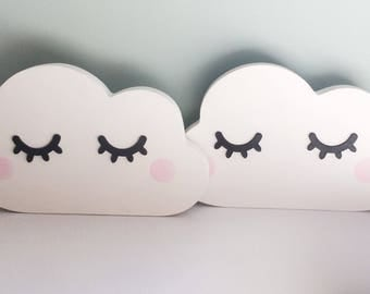 Free Standing MDF Sleepy Eyes Cloud shelfie, cloud shelf, nursery decor, Scandinavian style, cloud shelf decor, MDF shape, cloud bedroom