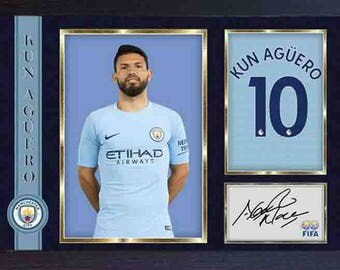 Kun Sergio Aguero signed autograph photo print repro Football Man City Framed