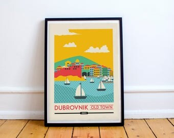 Dubrovnik Old Town Print - Dubronik Skyline, Wall Art Prints, Wall Home Decor | Travel Poster