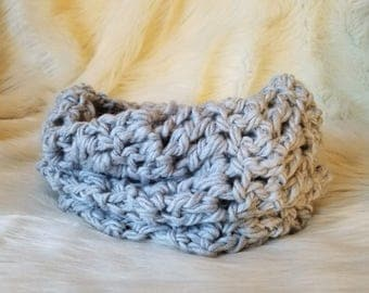 Grey Crochet Infinity Scarf \ Circle Scarf \ Cowl \ Neck Warmer
