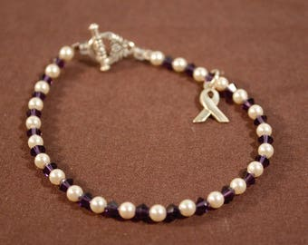 Vintage Purple Awareness Ribbon Beaded Toggle Bracelet