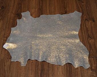 Skin of lamb leather silvered finish metallic (9195336)