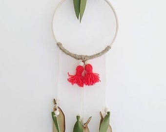 Wall hoop - red gum blossom - australian botanical - australian woodland - eucalyptus leaf decor - australiana gift - nursery decor