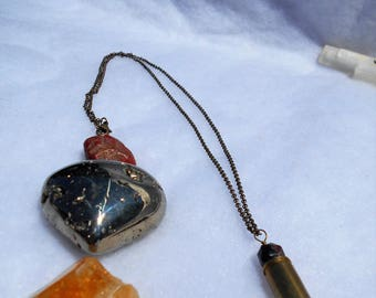 Bullet .9mm Pendant Necklace with Citrine and Garnet