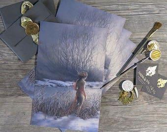 Sweet Tooth - Giclee Art Print - Hand Embellished - Changeling Girl - Fantasy Imaginative Realism - Bat Child - Sunset Snow Winter Landscape