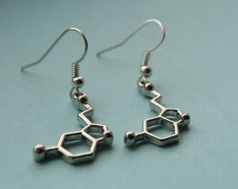 Serotonin Happiness Earrings || Neurotransmitter happiness chemicals mental health earrings