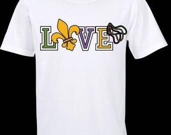 Love Fleur De Lis Mardi Gras Shirt