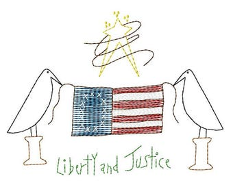 Liberty and Justice Machine Embroidery Design