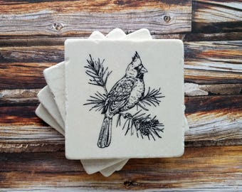 Cardinal Stone Coasters, Bird Coasters,  Gift for Her, Winter Coasters, Cardinal Home Decor, Cardinal Gift, Cardinal Desk Decor