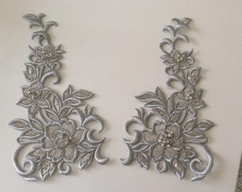 Applique embroidered silver thread slightly raised 27 * 15 cm