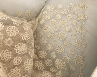 Fabric lace embroidered on organza slightly raidît 135 cm wide