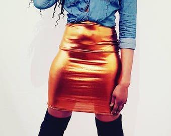Copper Metallic Fitted Pencil Midi Skirt