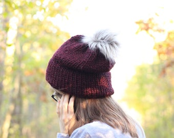 Ready To Ship // Chunky Knit Hat // Double Brim Beanie // Double Brim Knit Hat // Faux Fur Pom Hat // Knit Beanie