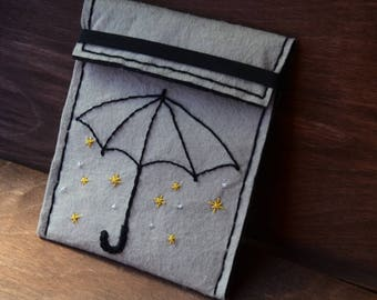 Purse/wallet made of felt, with embroidery