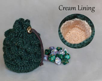 Dice Bag with Cream Lining - Scale Stitch Dragon's Egg Pouch - Crochet Coin Purse - DnD