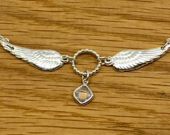 Unique silver angel wing karma necklace, One of a kind silver angel wing necklace, Karma necklace, Handmade silver Angel wing necklace