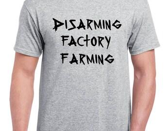 "UNISEX ""Disarming Factory Farming"" Shirt - Vegan, Vegetarian, Vegan Shirt, Animal Rights"