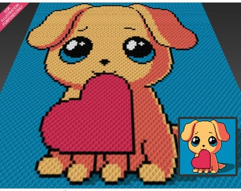 Puppy Love crochet blanket pattern; c2c, cross stitch; graph; pdf download; no written counts or row-by-row instructions