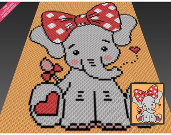Little Ellie crochet blanket pattern; c2c, cross stitch; graph; pdf download; no written counts or row-by-row instructions